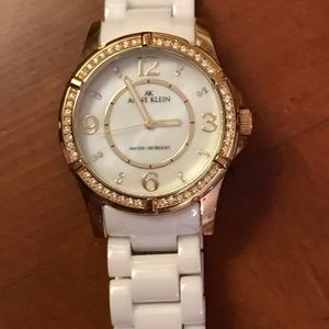 Anne Klein white ceramic Swarovski crystal watch